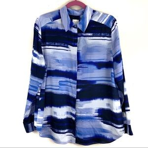 Chico's Blue Brushstroke Button Up Blouse